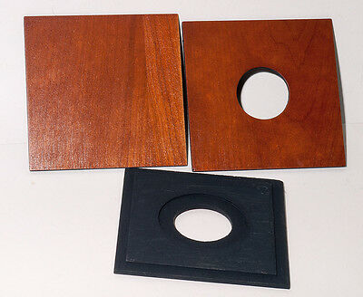 """1  LENS BOARD 4x4"""" """"C"""" for GRAFLEX ANNIVERSARY SPEED GRAPHIC - of Plywood Cherry"""