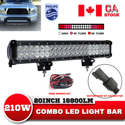 23'' inch Tri-Row 648W LED Light Bar PHILIPS Off road Jeep 4WD Truck Wiring Kit