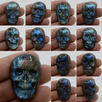 37-38mm Carved natural stone labradorite skull cab cabochon *each one picture*