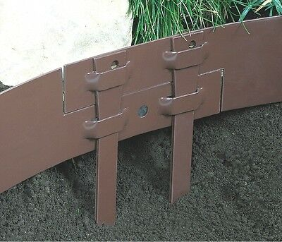 Pack of 15 Steel Garden Stakes Brown Edging Stakes Neat Border Landscaping