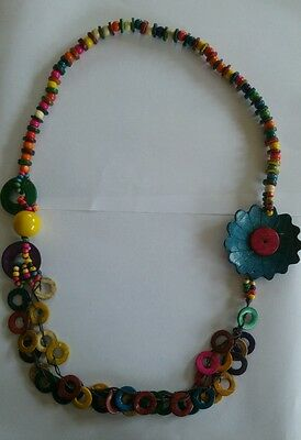 Vintage colourful wood and lucite bead necklace