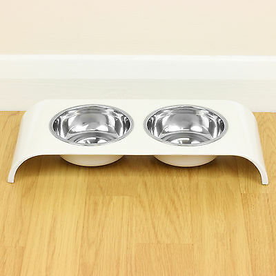 White Double Stainless Steel Cat Bowl Food/Water/Biscuit Twin Feeding Dish Stand