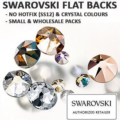 SWAROVSKI FLATBACKS RHINESTONES *3.1mm(SS12) NO HOTFIX *ALL CRYSTAL & AB COLOURS