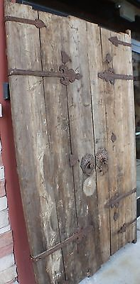 "86"" H 200 years old antique door rusted metal accents elm wood spectacular piece"