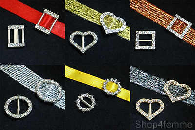 Metallic Ribbon Buckle Sliders with Rhinestones - Gift Wrapping / Party Invite