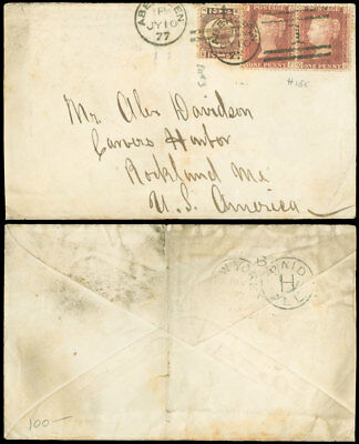 "7/10/1877 Great Britain Cover, Aberdeen - Usa, 2 1/2¢, ""new York/paid All H"" Bs!"