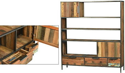 """59"""" L Bookcase Solid reclaimed boat wood sheet steel frame FLASH CLEARANCE"""