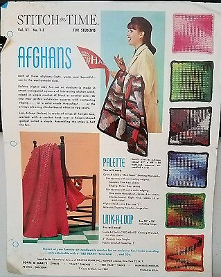 Stitch in Time brochure on Afghans vintage 1960 by Coats & Clark's ad
