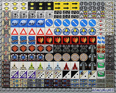 LEGO - Decorated Tiles Assorted Lot 1x1 1x2 2x2 Printed Finishing Plate Smooth