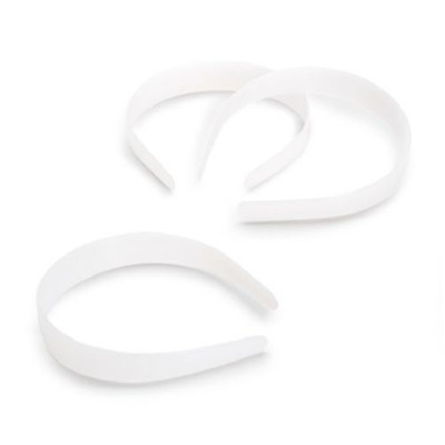 1 inch 25mm Wide White Plain Plastic Headbands 12 Pieces
