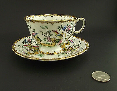 Atlas China White Tropical Bird Of Paradise  Antique Cabinet Tea Cup And Saucer