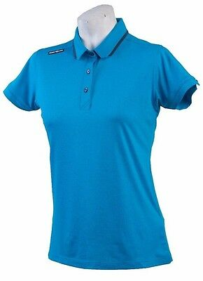 New Ladies Golf Shirt -  Golf Polo - Micro Dry - Crest Link Blue - Size Large