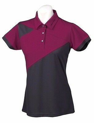 New Ladies Golf Shirt -Golf Polo -Micro Dry -Crest Link Magenta - Size Medium