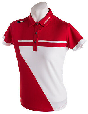 New Ladies Golf Shirt - Golf Polo - Micro Dry -Crest Link Red/White -Size Medium