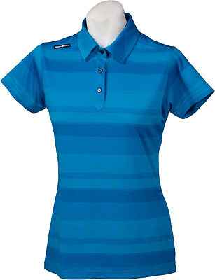 New Ladies Golf Shirt - Golf Polo - Micro Dry -Crest Link Blue Stripe - X-Large