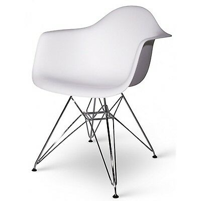 Set of Two (2) White - Eames Style Arm Chair with Chromed Steel Legs Eiffel D...