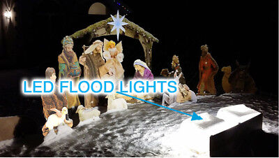 "LED ""Warm Floodlights"" for Christmas Lawn NATIVITY SCENE OUTDOOR LAWN ART"
