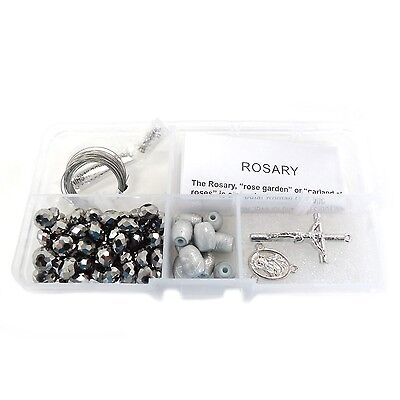 Fiona Metallic Crystal Beads and Silver Lining Plastic Beads Rosary DIY Kit