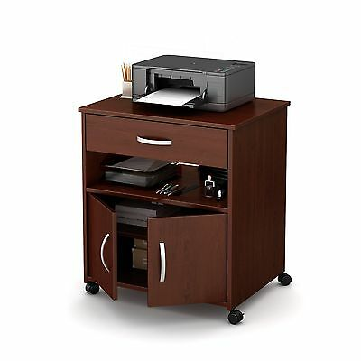 South Shore Furniture Axess Printer Cart on Wheels Royal Cherry