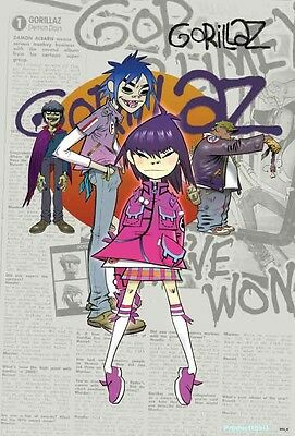 "GORILLAZ THE POSTER 24""x36 INCH MUSIC ROCK CONCERT NEW 1 SIDE SHEET WALL PM13"