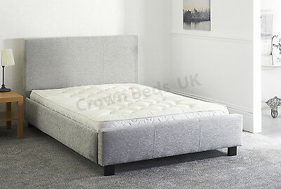 "Chenille Miami Upholstered Bed Frame In 4Ft6"" Double Light Grey"
