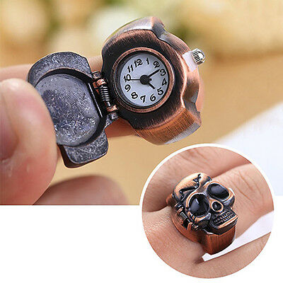 New Men Skull Finger Ring Watch Cool Punk Quartz Clamshell Ring Watch Xmas Gift