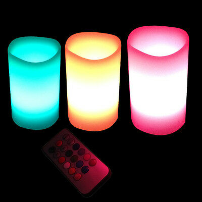 3pcs 12 Colours Remote Control Changing LED Lavender Flameless Wax Candles light