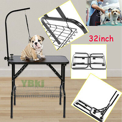 Foldable Bath Grooming Table Desk for Dogs Cats Pets Adjustable Arm Iron Frame