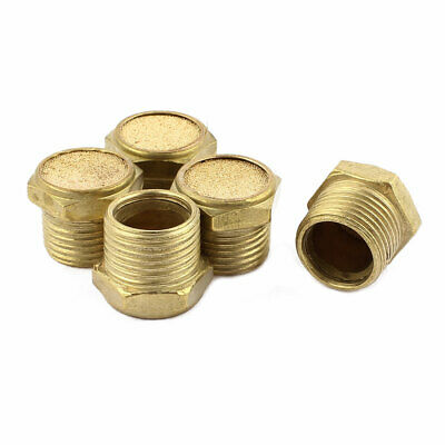 3/8BSP Male Thread Brass Air Pneumatic Noise Drop Filter Exhaust Muffler 5Pcs