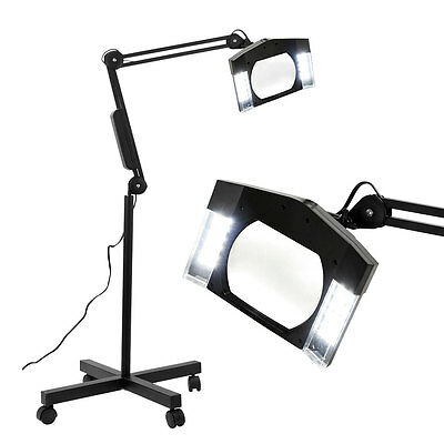 New Rolling Magnifying Lamp Light w/ Stand Facial Magnifier w/ Rolling Base