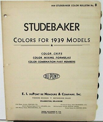 1939 Studebaker Color Bulletin No 8 Paint Chips Origianl & 1936 37 38 & 1940