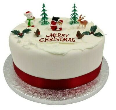 10 piece SET Merry Christmas Cake Decorations yule log cupcake toppers