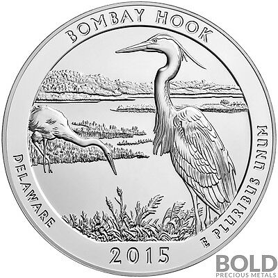 2015 Silver America The Beautiful Bombay Hook NP Delaware - 5 oz
