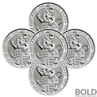 2016 Silver Great Britain Queen's Beasts (The Lion) - 2 oz (5 Coin)