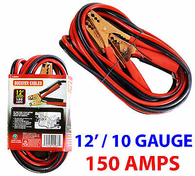 NEW 12Ft 10 Gauge/150 Amps Car Truck Van Suv Battery Power Booster Cables Jumper