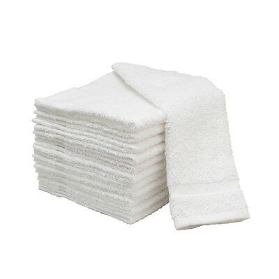 12 Pack WHITE Soft Cotton Face Wash Terry Facial Cloths Salon Spa Towels 12 x 12