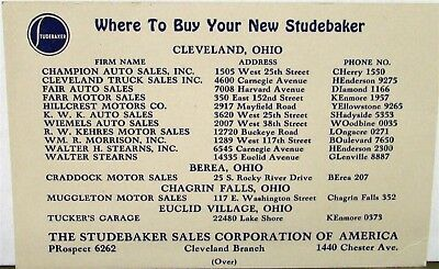 1938 Studebaker Six President  Commander Sale Reference Card Cleveland OH Orig