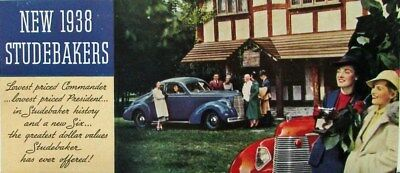 1938 Studebaker Six President 8 Commander Color  Sales Brochure Leaflet Original