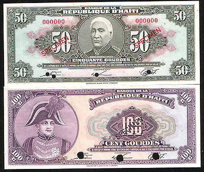 RARE HAITI SPECIMEN BANKNOTES!1979 50 & 100 GOURDES BOTH CHOICE UNCIRC Best Deal