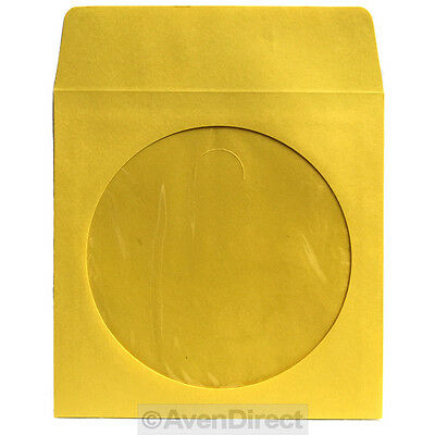 400 Premium Yellow Paper Sleeve Window Flap CD DVD 100P [FREE PRIORITY MAIL]
