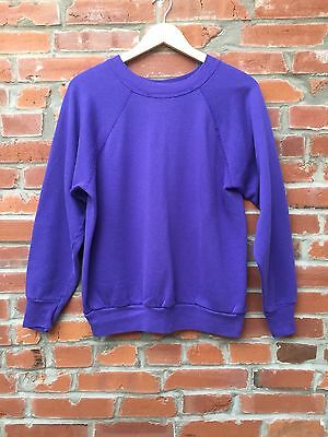 Vintage 80s 90s Raglan Sweatshirt Womens Purple Cotton Blend Crewneck LS (874)