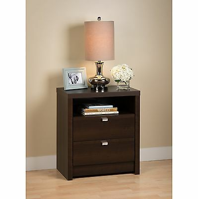 Prepac Series 9 Designer 2-Drawer Night Stand Tall Espresso