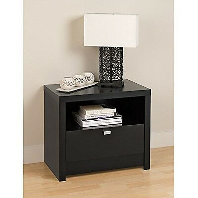 Prepac Series 9 Designer 1-Drawer Night Stand Black