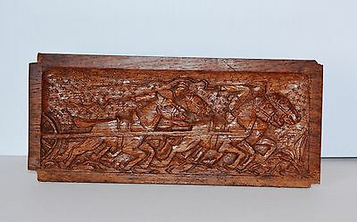 Vintage Ornate Wood Wall Plaque Carving Sculpture Horse Racing