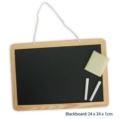 Wooden BLACKBOARD SET with CHALK, ERASER & Hanging Chord Educational KIDS TOY