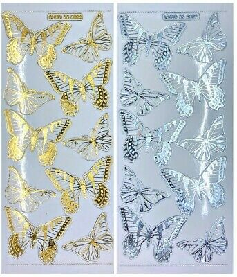 EMBOSSED BUTTERFLIES Peel Off Stickers Butterfly Gold or Silver Clear Sticker