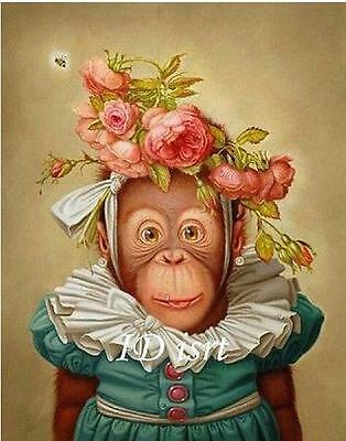 Monkey with Rose, Handpaint Oil Painting Wall Decor Art (24x32in, No Frame)
