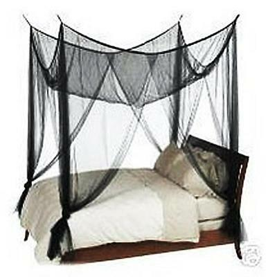 4 Corner Black Canopy Mosquito Bug Insect Net Full Queen King Sz Bed Netting