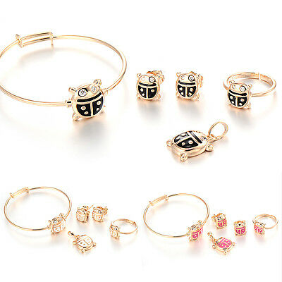 Cute Toddler Beetle Baby Gold Filled Jewelry Sets Crystal Earrings