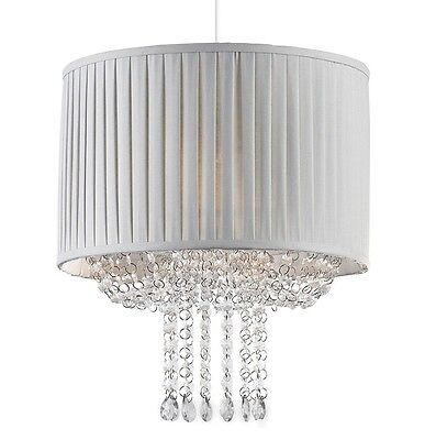 Easy Fit Soft Grey Pleated Fabric Ceiling Shade with Sparkly Acrylic Jewels